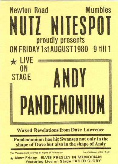 Andy Pandemonium Live at Nutz, Mumbles, Swansea